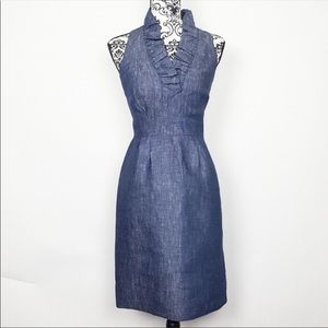 Taylor linen denim ruffle dress